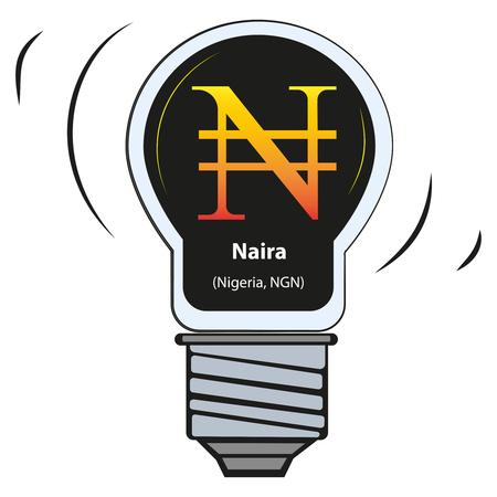 Vector lamp with currency sign - Naira, Nigeria, NGN Illusztráció