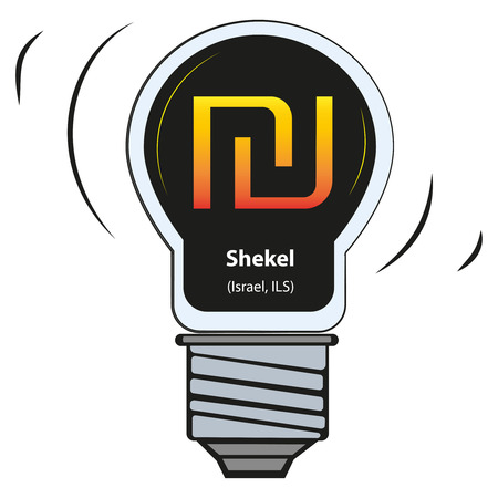 Vector lamp with currency sign - Shekel, Israel, ILS