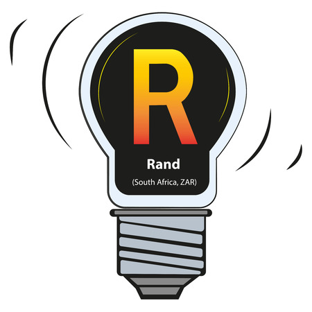 Vector lamp with currency sign - Rand, South Africa, ZAR Illustration