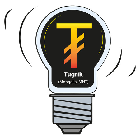 Vector lamp with currency sign - Tugrik, Mongolia, MNT