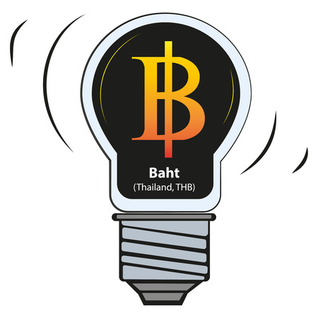 Vector lamp with currency sign - Baht, Thailand, THB Illusztráció
