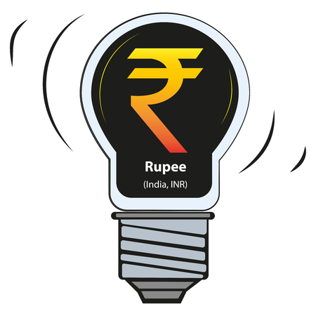 Vector lamp with currency sign - Rupee, India, INR