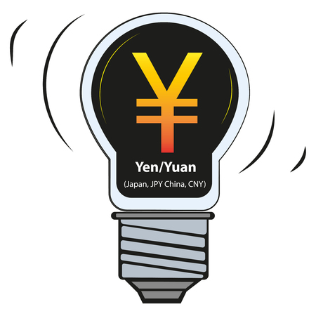 Vector lamp with currency sign - Yen / Yuan (Japan, JPY China, CNY) 向量圖像
