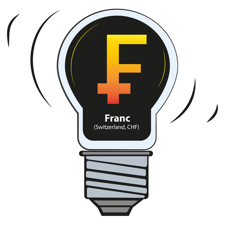 Signs of the world currency sign - Franc, Switzerland, CHF -vector currency symbol Illusztráció
