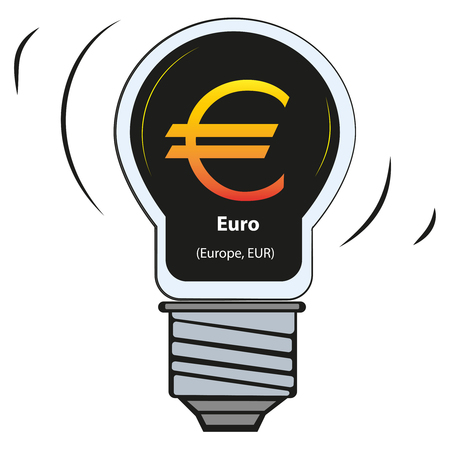 Vector lamp with currency sign - Euro (Europe, EUR)