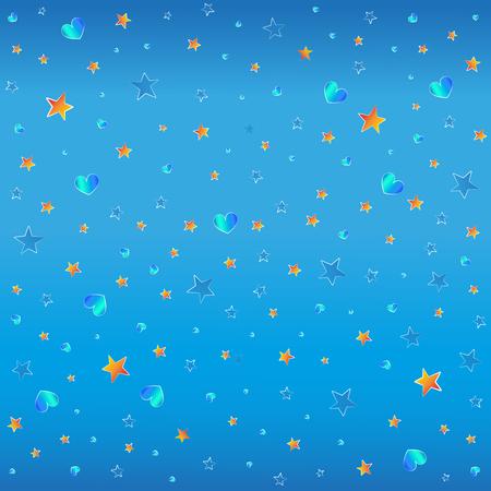 estrellas azules y naranjas