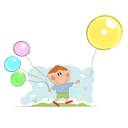 cartoon boy holding color balloons. Happy boy gesturing with colorful balloons isolated over white, blue background