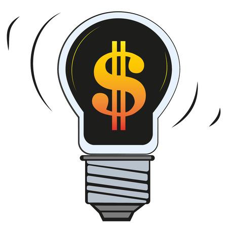 dollar in lamp, flat vector illustrator