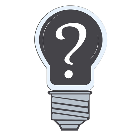 question mark (interrogation mark, interrogation mark, interrogation mark, interrogation mark) in lamp, flat vector illustrator