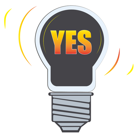 the word yes in lamp Light vector icon