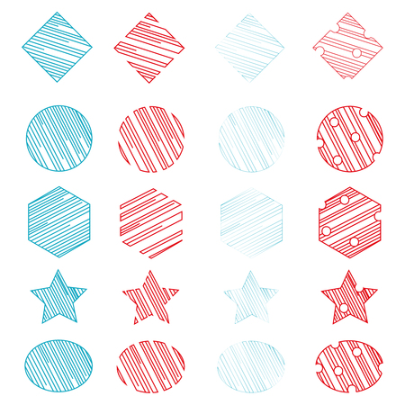 Set 20 Universal Geometric Shapes. Red and blue color. Spaces, holes