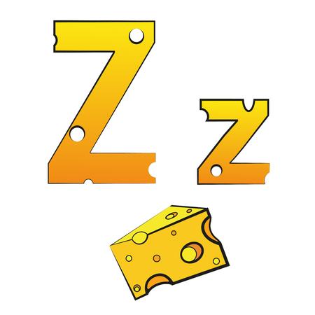 Z, swiss vector alphabet made of cheese Illusztráció