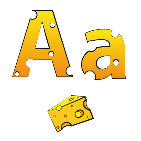 A, swiss vector alphabet made of cheese