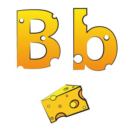B, swiss vector alphabet made of cheese Illusztráció