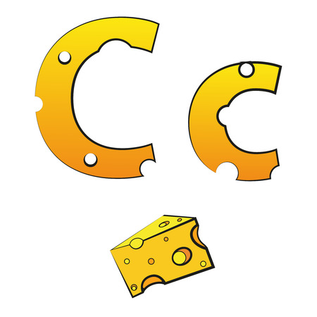 C, swiss vector alphabet made of cheese