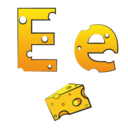 E, swiss vector Alphabet made of Cheese