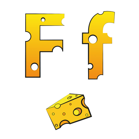 F, swiss vector Alphabet made of Cheese