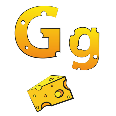 G, swiss vector Alphabet made of Cheese