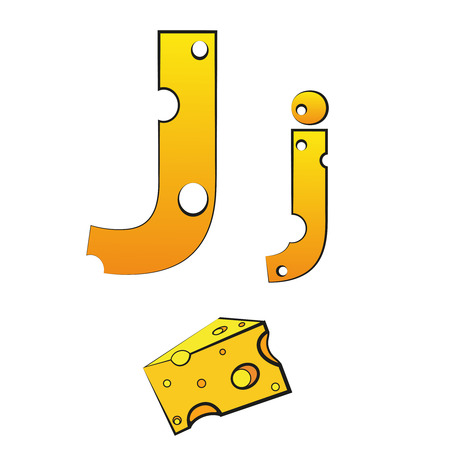 J, swiss vector alphabet made of cheese