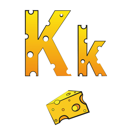 K, swiss vector alphabet made of cheese