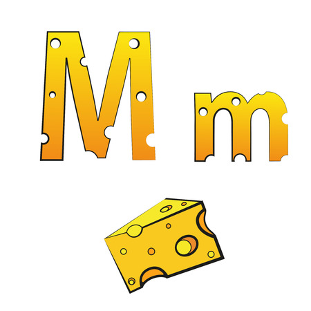 M, swiss vector alphabet made of cheese