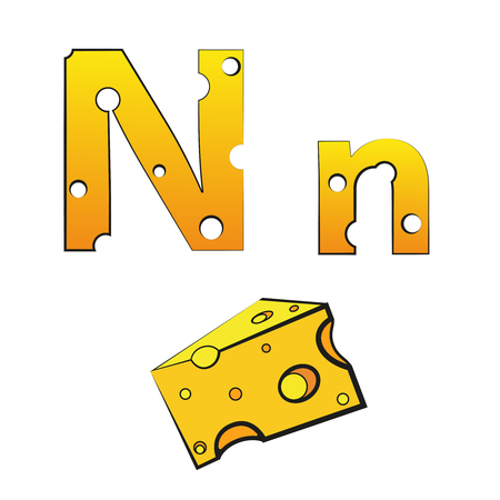 N, swiss vector alphabet made of cheese