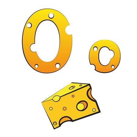 O, swiss vector Alphabet made of Cheese Illusztráció