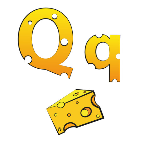 Q, swiss vector Alphabet made of Cheese