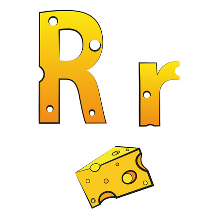 R, swiss vector Alphabet made of Cheese