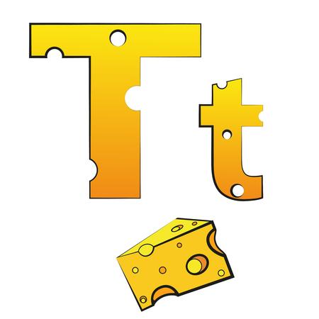 T, swiss vector Alphabet made of Cheese Illusztráció