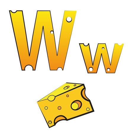 W, swiss vector Alphabet made of Cheese Illusztráció