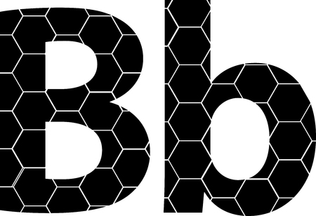 Simple vector alphabet of honeycombs, vector icons isolated on white - B