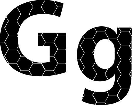 Simple vector alphabet of honeycombs, vector icons isolated on white - G Illusztráció