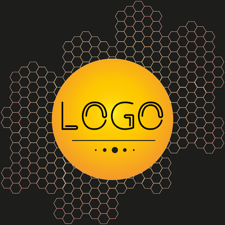 Logo from honeycombs on a black background - flat style