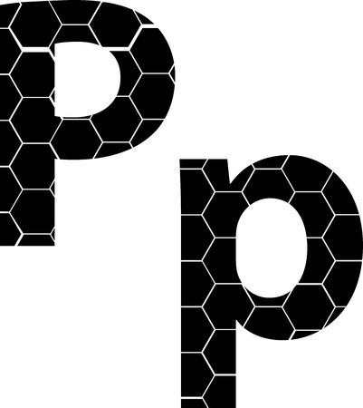 Simple vector alphabet of honeycombs, vector icons isolated on white - P Illusztráció