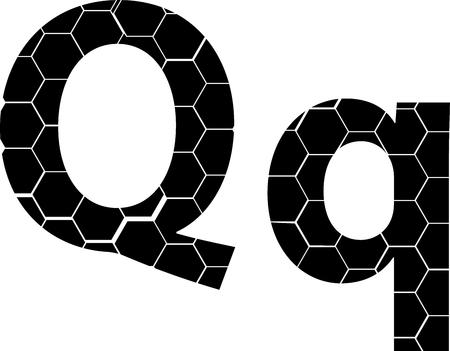 Simple vector alphabet of honeycombs, vector icons isolated on white - Q Illusztráció