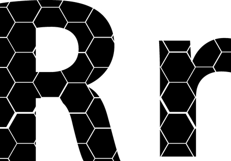 Simple vector alphabet of honeycombs, vector icons isolated on white - R Illusztráció