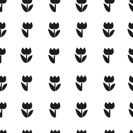 Vector pattern beautiful black silhouettes flowers tulips. Illustration isolated on white background Illusztráció