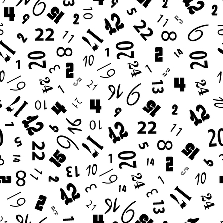 Seamless pattern figures- vector illustration. black-white monochrome background. Numbers from zero to nine. The original design