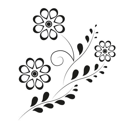 Cute vintage floral holiday cards set. 8 shape with flowers and leaves. Beautiful black / white background cards for greeting, invitation