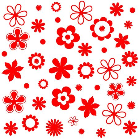 Pattern Cute vintage floral holiday cards set. 8 shape with flowers and leaves. Beautiful red / white background cards for greeting, invitation