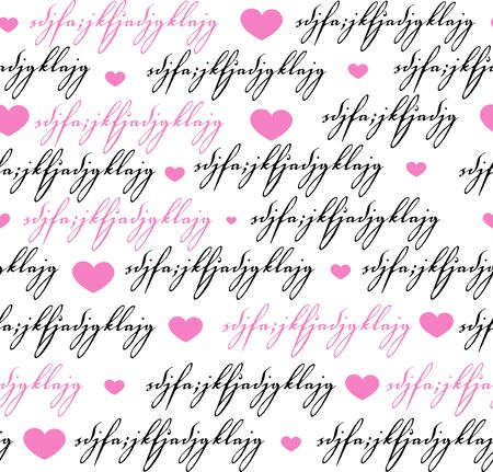 Seamless background pattern. Imitation of a abstract vintage lettering. Unreadable text with heart. Illusztráció
