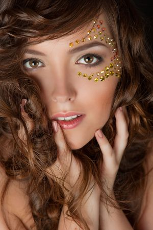 with glamour crystal makeup and flowers photo