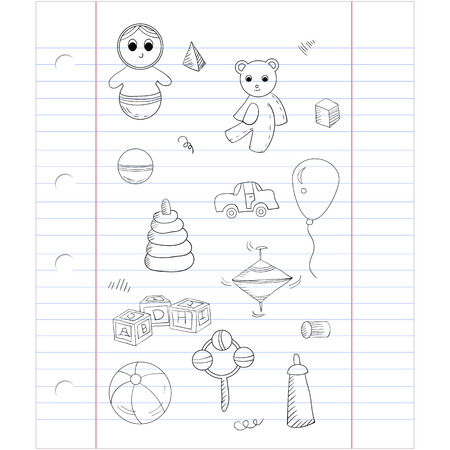 whirligig: Vector seamless pattern with different toys: bear, alphabet cubes, pyramid, whirligig, roly-poly toy. On notebook sheet background