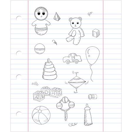 molinete: Vector sin patr�n con diferentes juguetes: oso, cubos alfabeto, pir�mide, perinola, juguete roly-poly. En la hoja del cuaderno de antecedentes