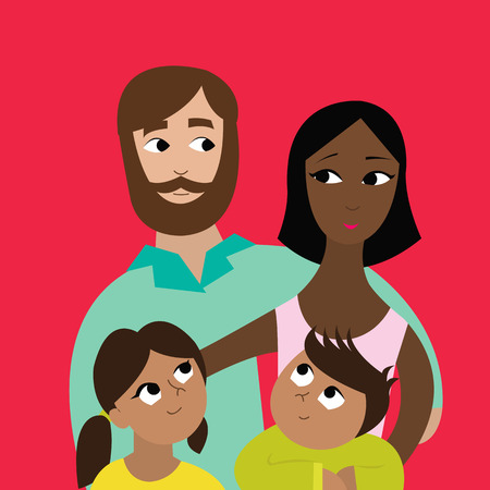 Happy interracial family with their children