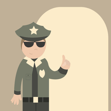 security officer: Police officer gives instructions. Vector illustration Illustration