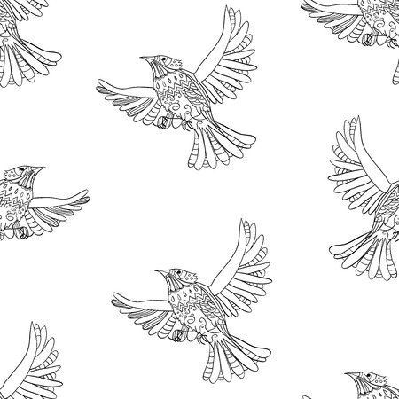 insectivorous: Vector seamless pattern with flying decorative birds Illustration
