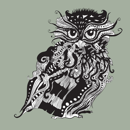 plump: Decorative graphic illustration with plump owl. Black and white elements