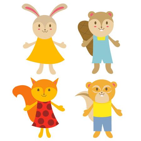 ardilla: Conjunto de roedores lindos personajes: conejo, castor, ardilla y ardilla. Vectores